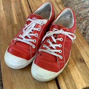 Josef Seibel red leather sneakers